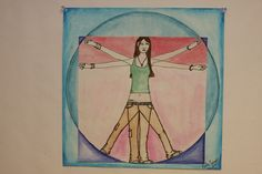 To learn proportions, Vitruvian Man of someone that interests them (batman, president, basketball player, self...)