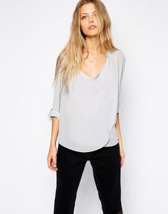 ASOS Top With Detail Front And Drape Neck