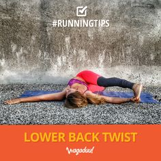 Prevent the pain in your lower back with this exercise! Lay on your back and release your legs to one side while turning your head to the other. Be careful not to lift your shoulders! Repeat on both sides.  #run #nikeplus