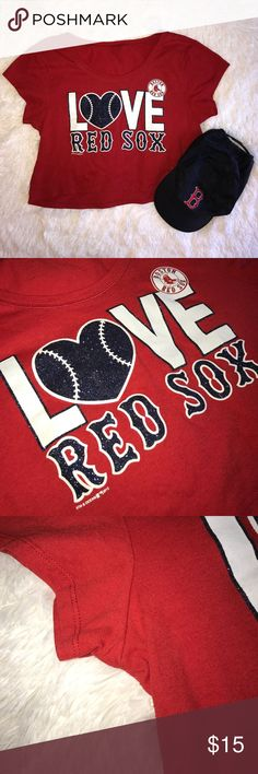 Sparkly LOVE Red Sox Crop Top No size tag but fits like a S. Not PINK, 5th & Ocean. Gently worn, no major flaws. Check out my other New England sports gear! Happy to bundle & open to offers❣️ PINK Victoria's Secret Tops Crop Tops