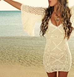 Spring / Summer Outfit - Cream Crochet Fitted Dress