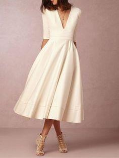Plus Size Solid A-line V Neck Sexy Midi Dress