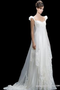 Stunning Empire Organza Bridal Wedding Dress | A Line Wedding Dress Empire Waist on The Best Price
