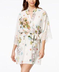 Flora Nikrooz Floral-Print Crepe Wrap Robe - Bras, Panties & Shapewear - Women - Macy's