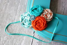 aqua/teal and orange rosette headband {Clementine} by Birdie Baby Boutique