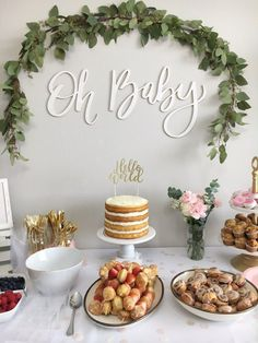 """Oh Baby"" Backdrop and ""Hello World"" cake topper by Ellie+Rae"