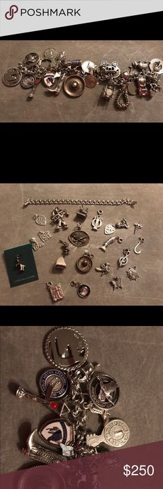 Two sterling silver charm bracelets 49 charms BoHo .925 vintage charm collection. Bracelet contains 25 travel charms. One empty bracelet with 24 loose charms. Including a motorcycle, Minnie Mouse, church, bible, 2 road runners, lucky chimney sweep, articulated fish, grand piano, sombrero and more! Big lot! All for one price. Vintage Jewelry Bracelets