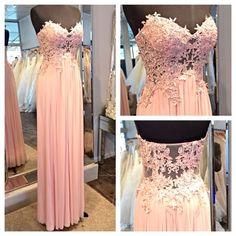 Light Pink Evening Dresses,Lace Prom Dress, Chiffon Party Dress, Long Formal Dresses