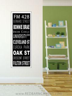 Custom Travel Sign, Vintage Subway Scroll, Bus Roll Wall Art, Paper Print by redbarncanvas on Etsy