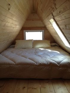 My Tiny House Obsession : Loft Considerations: Gabel vs. Tiny House Cabin, Loft House, Tiny House Design, House Porch, A Frame Cabin, A Frame House, Attic Rooms, Attic Spaces, Gambrel Roof