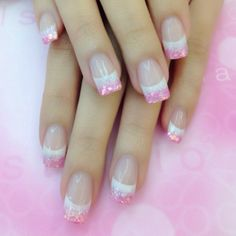 Pink and white French manicure
