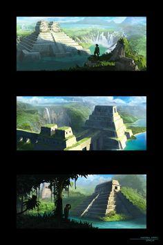 Water Temple Concepts, Matthew Harris on ArtStation at… World Of Fantasy, Fantasy Places, Fantasy Art, Fantasy Series, Landscape Concept, Fantasy Landscape, Landscape Art, Environment Concept Art, Environment Design