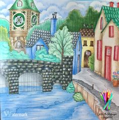 """From """"Romantic Country"""" Book 1 by Eriy . Linda Borneman, Colorist 2017. #romanticcountrycoloringbook #romanticcountry #adultcoloringbook #adultcoloring #eriy #prismacolor #prismacolorpencils"""