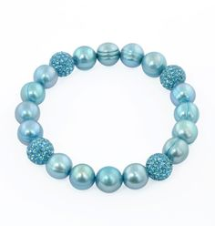 """Honora """"Pop Star"""" Teal Freshwater Cultured Pearl and Pave Bead Stretch Bracelet, 7.5"""". Pearl Strand Bracelet. The natural properties and process of pearl formation define the unique beauty of each pearl. The image may show slight differences in texture, color, size, and shape. Gemstones may have been treated to improve their appearance or durability and may require special care."""