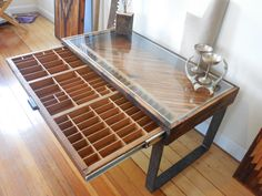Reclaimed wood coffee table - printer drawer by UniqueIndustry on Etsy https://www.etsy.com/listing/212615692/reclaimed-wood-coffee-table-printer