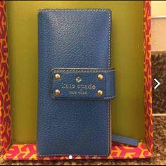 Blue 7 x 3 Kate Spade Wellesley wallet NWOT 7 x 3 blue Kate Spade Wellesley wallet.  Leather beauty. kate spade Bags Wallets