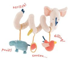 Moulin Roty elephant activity spiral from the Les Papoum Range. The soft Moulin Roty elephant spiral fits perfectly onto a pushchair or cot and provides great entertainment for little ones. Baby Sense, Colorful Elephant, Shops, Little Unicorn, Activity Toys, Kids Store, Baby Kind, Toys Shop, Le Moulin