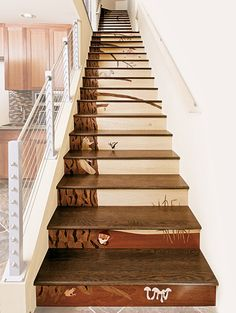 Architectural stair riser wood inlay. wowza!
