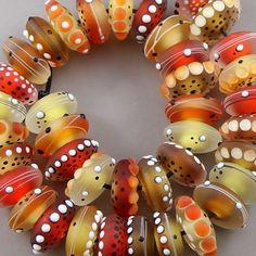 Magma Beads ~Lampadaire Disks~ Handmade Lampwork Beads, 39 Disks