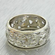 1930s Antique Art Deco Women's Estate 14k White Gold Filigree Wedding Band Ring