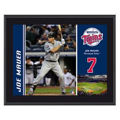 """Minnesota Twins Joe Mauer 10 1/2"""" x 13"""" Sublimated Plaque by Mounted Memories"""