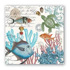 Michel Design Works Sea Life Cocktail Napkins, Set of 20 ...
