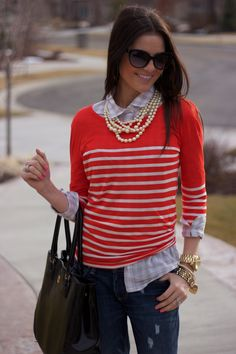 casual layers and pearls! Style Marin, Moda Chic, Elegantes Outfit, Sweater Weather, Casual Chic, Passion For Fashion, Autumn Winter Fashion, Preppy, What To Wear