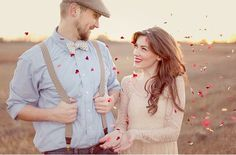 Heart confetti, yes please! It's cute in this engagement photo but would also be cute to throw at bride and groom as they exit!