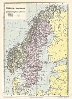 1914 Map of Sweden and Norway from the Diccionario Enciclopedico Hispano-Americano de Literatura, Ciencia, Artes, Etc.  One of a set of 6 maps. ($9 for 6 maps)  Available at www.uncannyartist.com/