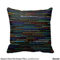 Harper's Ferry Text Design I Throw Pillow