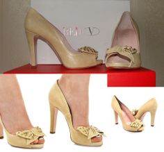 RED Valentino Leather Peep-Toe Bow Pump - NEW