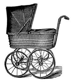 Royalty Free Images Vintage Baby Carriages Black and White