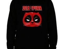 deadpool hoodie cat deadpool sweatshirt merc movie men's women's black cotton viscose christmas