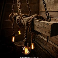 Wood Beam Light - Barn wood Pendant Light -Manila Rope Light - rustic Chandelier - Industrial Lighting