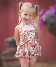 Look at this #zulilyfind! Brown Floral Country Girl Bubble Romper - Toddler & Girls #zulilyfinds