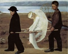 The Wounded Angel (1903) by symbolist painter Hugo Simberg (1873-1917). A nearly identical work was painted as a fresco in the Tampere Cathedral, which Simberg decorated in 1905-1906. In that second version, he added factory chimneys to the horizon as a recognition to the industrial town that Tampere was in those days.