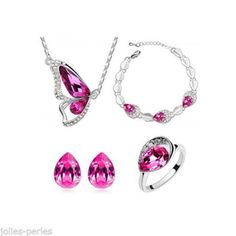 JP Fashion Butterfly-shaped Austrian Crystal Rings Earrings Necklace Four Set