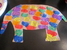 "elmer, using square sponge ""stamps"" discuss shapes, squares, etc."