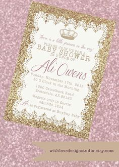Blush Pink Gold Glitter Baby Shower Invitation Girl Baby Shower