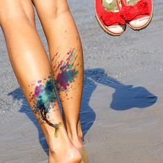 watercolor tree tattoo on calves