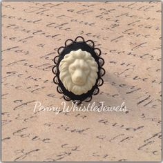 Antique Silver Lion Cameo Ring, Cameo Ring, Adjustable Ring, Lion Ring