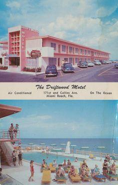 The Driftwood Motel - Miami Beach, Florida - vintage postcard Vintage Florida, Old Florida, Florida Travel, Miami Florida, Clearwater Florida, Naples Florida, Motel Miami, Hotel Motel, Miami Beach
