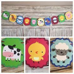 Farm Banner Farm Birthday Farm Baby Shower by EricasCrafties Farm Animal Party, Barnyard Party, Farm Birthday, 2nd Birthday Parties, Farm Cupcake Toppers, Farm Party Decorations, Bash, Second Birthday Ideas, Farm Theme