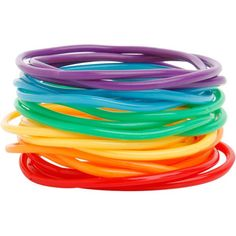 Best Bracelet 2017/ 2018 : Rainbow Rubber Bracelet 20 Pack | Hot Topic and other apparel accessories and t