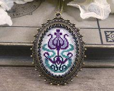 Cross Stitch Necklace Cross Stitch Pendant by Calimerodesign
