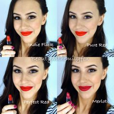 NYX Matte Lipsticks – Lip Swatches Indie Flick, Pure Red, Perfect Red and Merlot! Source by barlowslushmakeupideas Nyx Red Lipstick, Red Lipstick Shades, Lipstick Colors, Lip Colors, Matte Lipsticks, Lipstick Quotes, Lipstick Swatches, Makeup Swatches, Neutrogena