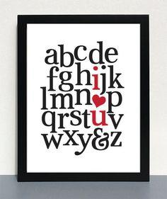 Nursery Art   Alphabet Print  Children's Art  Love by 19letters, $13.00