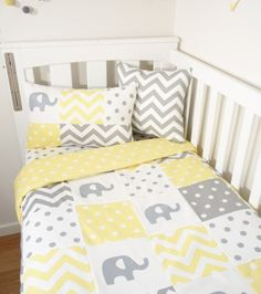 Yellow and grey elephant Patchwork (Yellow/white spot quilt backing)- Nursery set items - Handmade Nursery Items | Mama and Cub