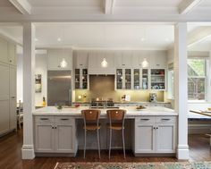 galley kitchen with posts and pass-through - Google Search