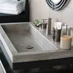 Rethink the bathroom sink. Trough 3619 Concrete Bathroom Sink completely captures a smooth, modern aesthetic - and a distinct, rustic sensibility. Stone Bathroom Sink, Drop In Bathroom Sinks, Natural Bathroom, Concrete Bathroom, Dream Bathrooms, Small Bathroom, Stone Sink, Kitchen Sink, Kitchen Countertops